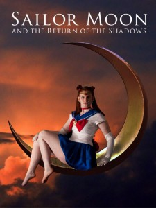 "Actress Sam Ross sits on a crescent moon in the sky as Sailor Moon. ""Sailor Moon and the Return of the Shadows"" reads at the top."