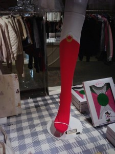 knee high socks that mimick sailor moon's red boots