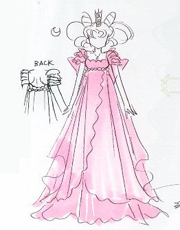 sketch of princess small lady in a pink dress
