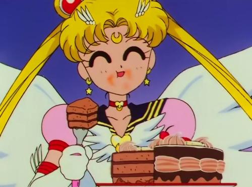 Eternal Sailor Moon happily eats a chocolate cake (90s anime)