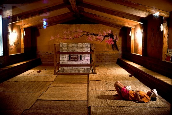 The inside of a sauna at Spa Castke via wsj