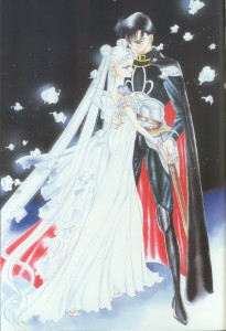Princess Serenity is embraced by Prince Endymion