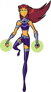 Teen Titans Starfire floats with her fists glowing