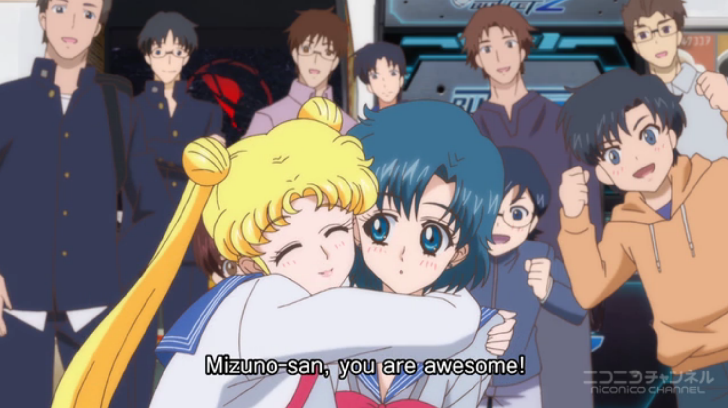 "A screenshot from Sailor Moon Crystal with Usagi hugging Ami and saying ""Mizuno-san, you are awesome!"""
