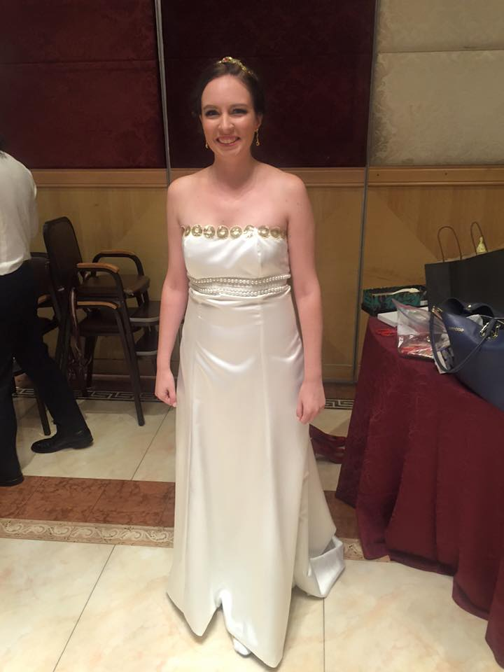 a young white woman wears a homemade neo queen serentiy dress