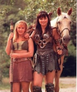 Xena and Gabrielle stand with Argo, the horse.